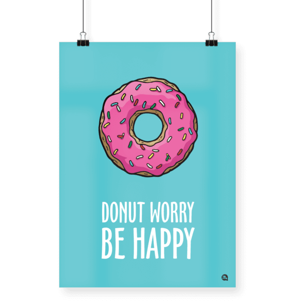Poster Donut worry be happy Tamanho A4